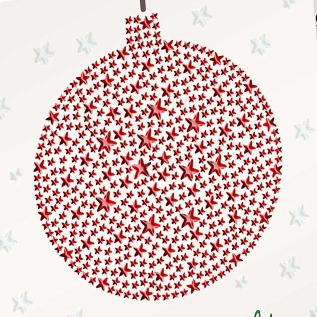 Lak-opdruk op een kerstkaarten