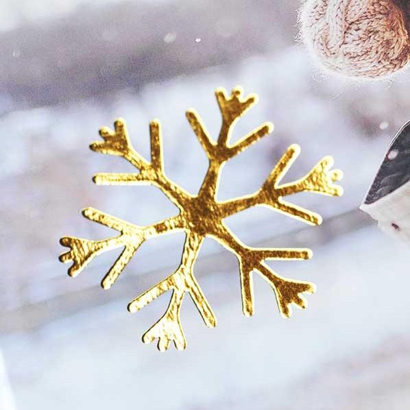 Sneeuwvlok in goud-opdruk