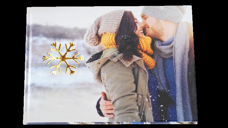 Winter fotoboek met gouden opdruk